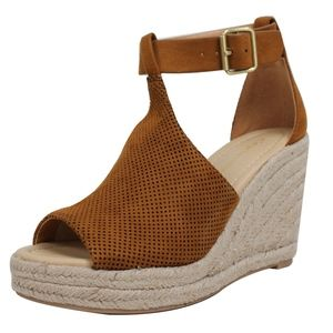 Shoes - Tan Perforated Ankle Strap Espadrille Wedge